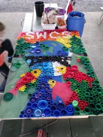 Field Day 2014 Bottle Cap Mural